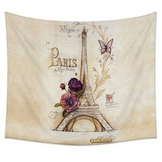 Eiffel Tower and Purple Flower Wall Tapestry Hanging Uphome Light Brown Lightweight Polyester Fabric Wall Decor 60H x 80W Purple Flower >>> Check out the image by visiting the link. (This is an affiliate link) #Tapestries