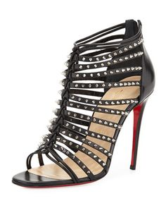 Millaclu Mini-Spike Red Sole Pump, Black by Christian Louboutin at Neiman Marcus.