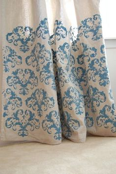 Stenciled drop cloth curtains- super cheap home decor project!!