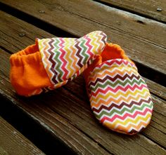 Fall Colored Chevron Baby and Toddler Crib Shoes by WithinThePines