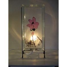 Lotus Lamp FREE SHIPPING lotus glass block night light upcycled... (€4,05) via Polyvore featuring home, lighting and glowblocks