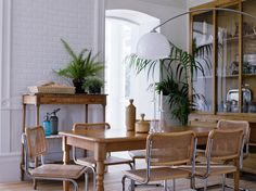dining room - white! ferns! lamp!