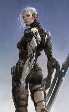 p w, Sungryun Park – Cyberpunk Gallery Cyborg Girl, Female Cyborg, Female Armor, Mode Cyberpunk, Cyberpunk Girl, Cyberpunk Aesthetic, Arte Ninja, Arte Robot, Robot Art