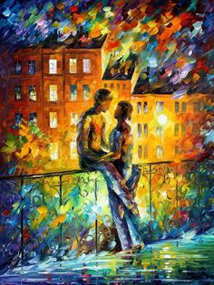 "Silhouettes — PALETTE KNIFE Contemporary Fine Art Oil Painting On Canvas By Leonid Afremov - Size: 30"" x 40"" inches (75 cm x 100 cm)"