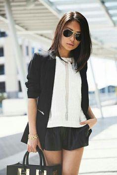 Black Blazer with shorts.