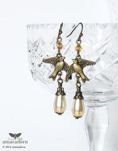 Romantic Bird Earrings Vintage Style Cream Pearl Drop by Amaradorn