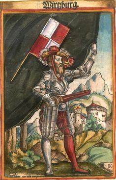 """Würzburg [Wirzburg] (f°108) -- Koebel, Jacob, """"Wapen des heyligen römischen Reichs teutscher Nation"""", Franckfurth am Main, 1545 [BSB Ms. Rar. 2155]"""