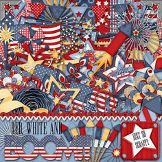 Red White and Boom Digital Scrapbook Kit  by JssScrapBoutique, $4.99