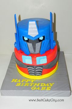 Salt Cake City: Optimus Prime Transformer Birthday Cake