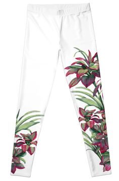 Tropical Leaves Sing Leggings by PolkaDotStudio, new #tropical #Hawaiian #jungle #garden #watercolor #art on #trendy #fashion #apparel #pants #leggings and other coordinating clothing. #Comfortable and classy, perfect for #leisurewear, #activewear, #yoga, #travel, whether a casual event or a special occasion. Perfect #gift for #her.
