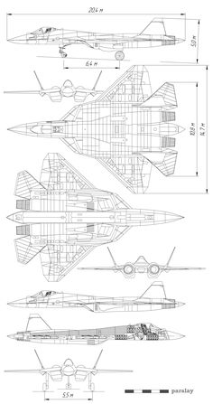 1136 best Aircraft 3-view Scale Drawings images on