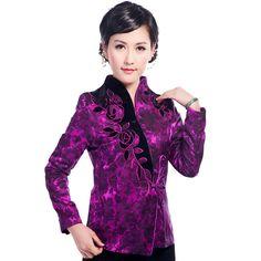 Gorgeous Mandarin Style Open Neck Jacket - Purple - Chinese Jackets & Coats - Women