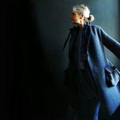 Asymmetrical Navy Grey Wool Herringbone Coat with by 13threads
