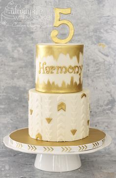 Golden 5th Birthday Cake