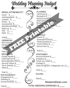 Plan a wedding and make sure to stay on the budget. Get this Free Printable wedding checklist.