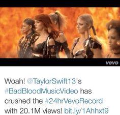 taylorswift: Oh MY GOD. #BadBloodMusicVideo  #24hrVevoRecord