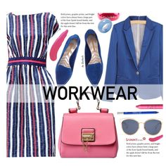 Work Wear by beebeely-look on Polyvore featuring moda, Nicholas Kirkwood, Chanel, Kenneth Jay Lane, Christian Dior, TheBalm, Urban Decay, tarte, WorkWear and stripes