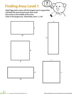 Area Worksheet, 3rd grade geometry worksheet to find the area of ...