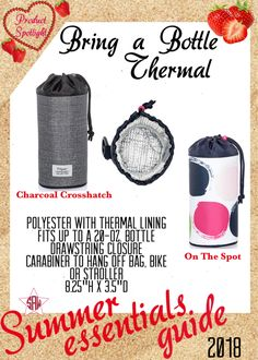 Graphic for VIP Facebook group or party. Bring a bottle thermal Summer essentials product spotlight. Thirty-One spring/summer 2018 www.mythirtyone.ca/sabrinawhite