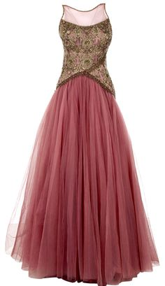 Pink Gown with Embroidered Bodice