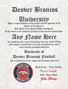 DENVER BRONCOS ~ football fan ~certificate ~ diploma ~gift ~sign ~ man cave ~ office ~ dorm room
