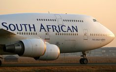 """South African Airways Boeing ZS-SBK """"The Great North"""" on the taxiway."""