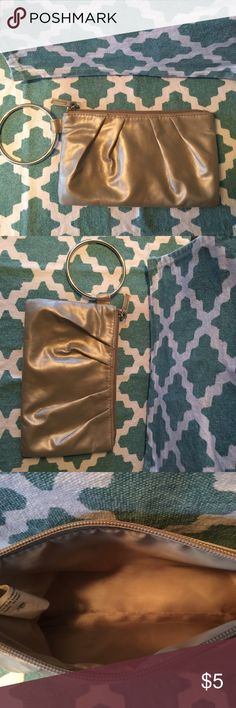 Metallic Gold Clutch Gold Clutch purse with a silver ring Bags Clutches & Wristlets