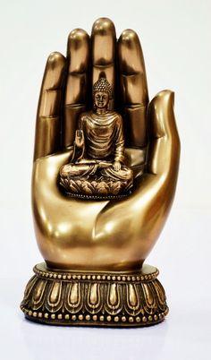 Hand  Palm BUDDHA Statue, Shakyamuni Tibet amulets Amitabha Buddhas Sculpture