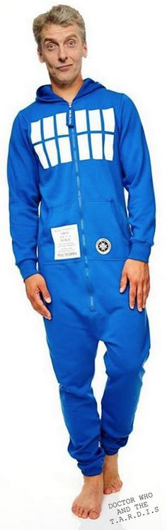 It's Peter Capaldi, The Doctor, in a TARDIS onesie.