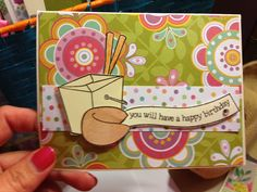 Handmade card by me.  Lawn fawn good fortune stamps.  Love them.