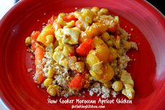 Aromatic, sweet and spicy, this Slow Cooker Moroccan Apricot Chicken will take your taste buds on a midweek trip to Morocco!