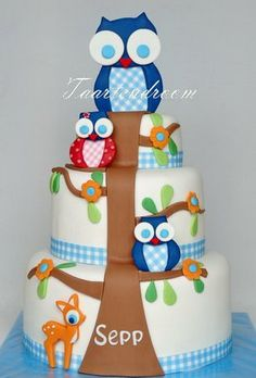 Baby Owl Cake to match the Card, by Peggy vd Ven Pink Hoot Owl Cake Owl Cake — Children's Birthday Cakes party Girl Boys Kid Kids