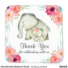 Adorable Baby Elephants Thank You Square Sticker - An adorable thank you sticker for a baby shower featuring a Mama and baby girl elephant. Matching pink watercolor flowers frame the image. The text may be edited with your desired message. Sold at Oasis_Landing on Zazzle.
