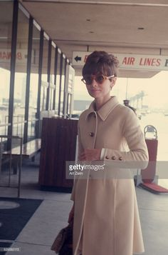 April 01, 1968: Audrey Hepburn Audrey Hepburn wearing a beige wool coat and sunglasses at the airport in New York. (Photo by Art Zelin/Getty Images).