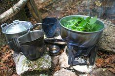 Cocinando ortiga en www.Bushcraft.es. Cooking urtica.