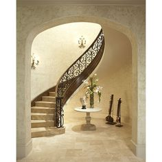 Stairways - mediterranean - staircase - houston - by John Termeer ❤ liked on Polyvore featuring backgrounds and empty room