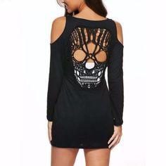 Black Cut Out Skull Women Sexy Mini Dress