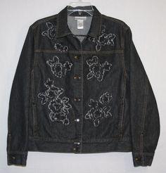 Jones New York Sport Black Denim Jean Jacket Large Women's Fashion Fall Winter