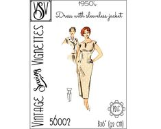 1950's Dress with sleeveless jacket B36 PDF sewing | Etsy