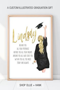 Shop Ollie + Hank for unique graduation gifts for high school. Our graduation poem print personalized with hand illustrated custom portrait and message is a unique heartfelt gift for a graduate. Graduation Poems, Graduation Gifts For Daughter, Unique Graduation Gifts, High School Graduation Gifts, Personalized Graduation Gifts, College Graduation Gifts, Best Friend Graduation Gifts, Graduation Parties, Graduation Decorations