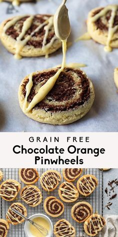 Amazing grain free chocolate orange pinwheels made with fresh orange juice and drizzled with a sweet orange icing. These fun, unique chocolate orange pinwheels are made with a grain free chocolate cookie dough and an almond orange cookie dough for a new holiday cookie everyone will love! Gluten, grain & dairy free and so delicious. #cookies #christmascookies #chocolate #grainfree #glutenfree #baking