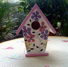 "Hand Painted Birdhouse - our inspiration for the painted wooden birdhouses people made when they attended our ""Birdhouse Craft"" at the Palatine Library on May 17, 2015."