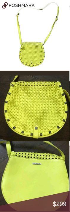 Rebecca minkoff shoulder bag Neon yellow Rebecca Minkoff studded adjustable shoulder strap crossbody bag. Like new no marks. Comes with dust bag Rebecca Minkoff Bags Crossbody Bags