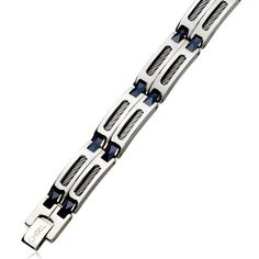 Men's Stainless Steel and Blue Ceramic Link Bracelet, Inch Bracelets With Meaning, Link Bracelets, Jewelry Bracelets, 316l Stainless Steel, Ceramics, Personalized Items, Metal, Blue, Men