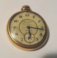 Vintage NEW HAVEN COMPENSATED Gold Tone Case Pocket Watch Antique Working