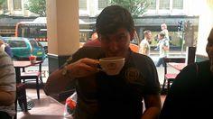 L.A Richards enjoying a Hazelnut Latte, his favourite hot drink