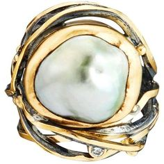 Preowned Bergsoe Pearl Diamond Silver Gold Twisted Ring (2,795 CAD) ❤ liked on Polyvore featuring jewelry, rings, multiple, yellow gold pearl ring, white gold pearl ring, pearl diamond ring, 24k gold ring and twisted diamond ring