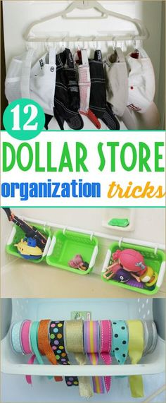 12 Dollar Store Organization Tricks.  Home and Car organizing on a dime.  Bright ideas on getting a messy area organized.