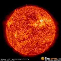 The hourly sun (at 11:45 pm  UTC on 11 February 2013)
