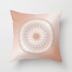 #rose gold #gray #mandala #geometric #throw pillow